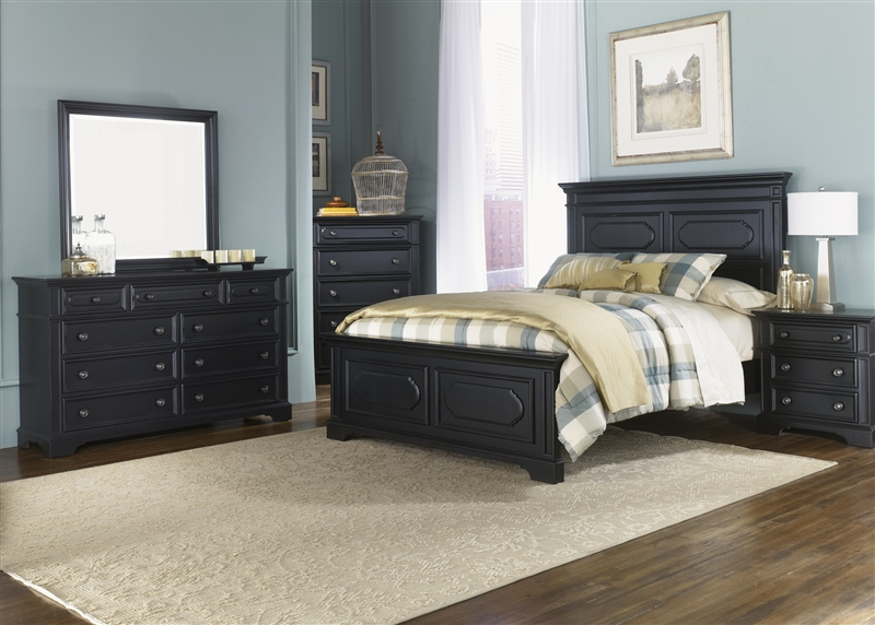 Carrington II Panel Bed 6 Piece Bedroom Set in Black Finish by ...