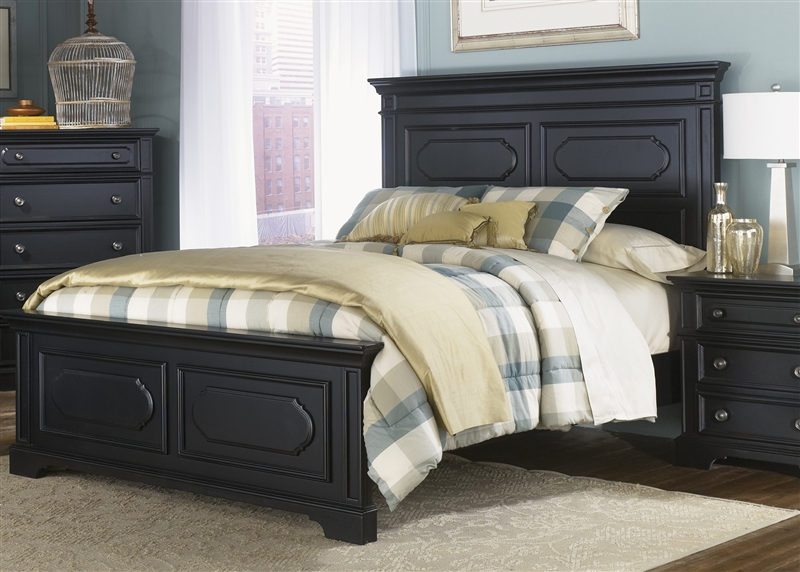 Carrington II Panel Bed 6 Piece Bedroom Set In Black Finish By Liberty  Furniture   917 BR13
