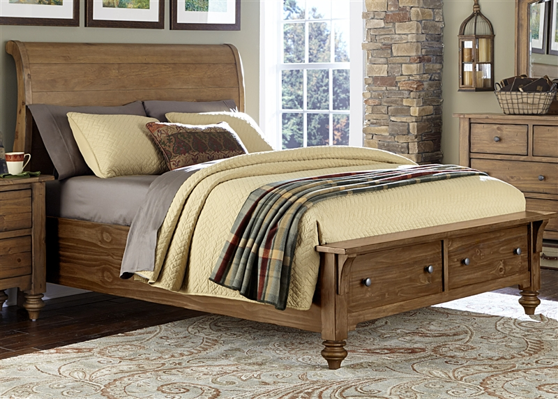Southern Pines Storage Bed In Vintage Light Pine Finish By Liberty Furniture    918 BR QSB