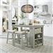 Brook Creek Kitchen Island 5 Piece Counter Height Set in Grey Finish by Liberty Furniture - LIB-942-CD-5CTS