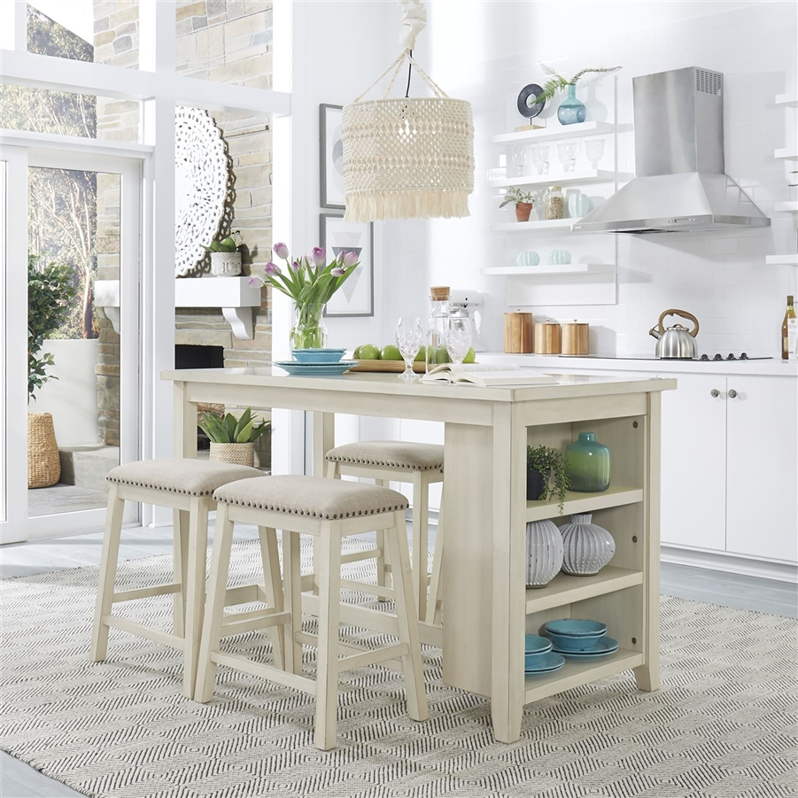 Brook Creek Kitchen Island 5 Piece Counter Height Set in White Finish by  Liberty Furniture - LIB-942W-CD-5CTS