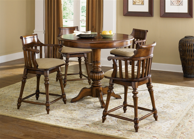 crystal lakes round pub table 3 piece dining set in toffee finish by liberty furniture 97pub4242