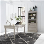 Harvest Home 3 Piece Home Office Set in Cottonfield White Finish by Liberty Furniture - 979-HO107-3
