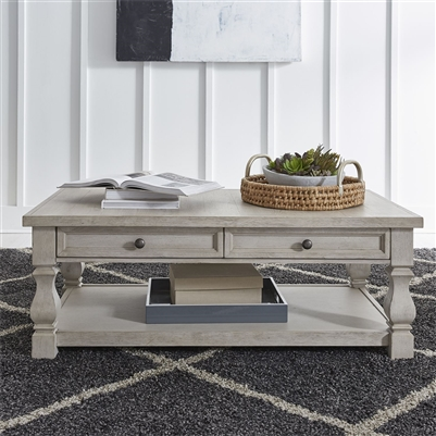 Harvest Home Cocktail Table in Cottonfield White Finish by Liberty Furniture - 979-OT1010