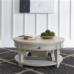 Harvest Home Round Cocktail Table in Cottonfield White Finish by Liberty Furniture - 979-OT1011