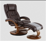Oslo Euro 2 Piece Swivel Recliner in Whisky Breathable Air Leather (Brown) with Walnut Finish by MAC Motion Chairs 51-99-103