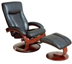 Oslo Hamar 2 Piece Swivel Recliner Black Leather & Merlot Finish by MAC Motion Chairs 54-B