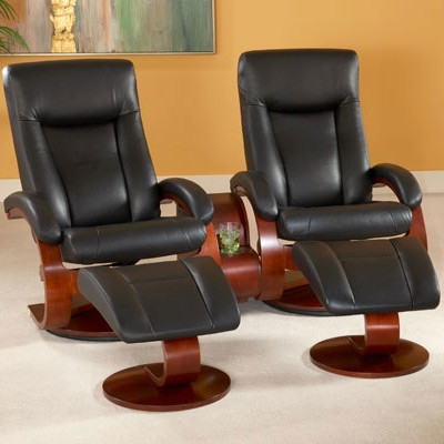 Oslo Hamar 2 Piece Swivel Recliner Black Leather U0026 Merlot Finish By MAC  Motion Chairs 54 B