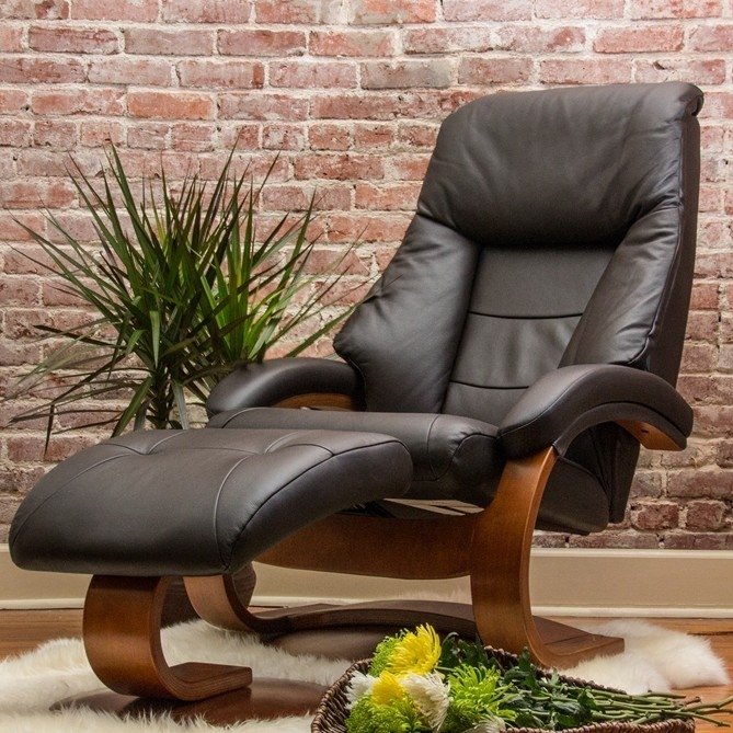 Oslo Mandal 2 Piece Swivel Recliner Espresso Leather / Walnut Finish By MAC  Motion Chairs 58 E