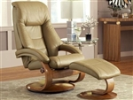 Oslo Mandal 2 Piece Swivel Recliner Sand Leather / Walnut Finish by MAC Motion Chairs 58-S