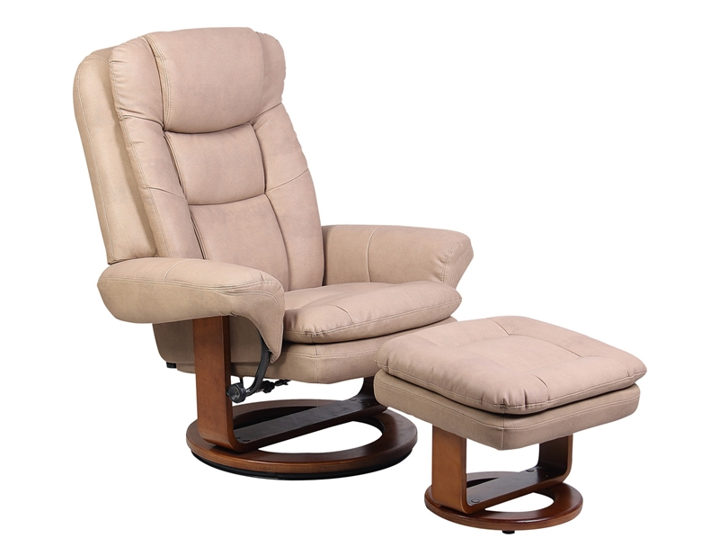 MAC Motion Chairs 802/22/103 2 Piece Swivel Recliner Stone Nubuck Leather U0026  Walnut Finish