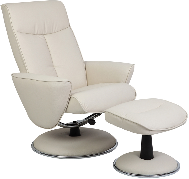 MAC Motion Chairs 830/27/UPH 2 Piece Swivel Recliner Snow Bonded Leather U0026  Chrome Trim