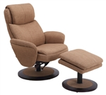 Denmark Euro 2 Piece Swivel Recliner Comfort Chair in Taupe Rio Fabric with Alpine Finish by MAC Motion Chairs DENMARK-60-200