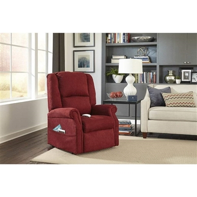Felix Power Lift Chair Lay Flat Chaise Lounger Recliner in Burgundy Polyester by Mega Motion - NM-101