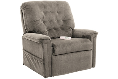 Avia Power Lift Chair Petite Wide Chaise Lounger Recliner in Dove Performance Fabric by Mega Motion - NM-122-PW-D