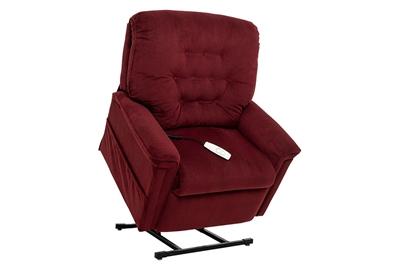 Avia Power Lift Chair Petite Wide Chaise Lounger Recliner in Scarlet Performance Fabric by Mega Motion - NM-122-PW-S