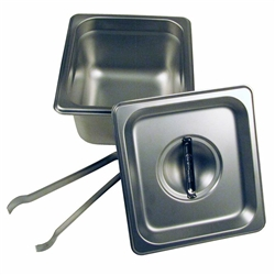 "4"" Steam Pan Set with Lid and Tongs by Paragon - PAR-5064S"