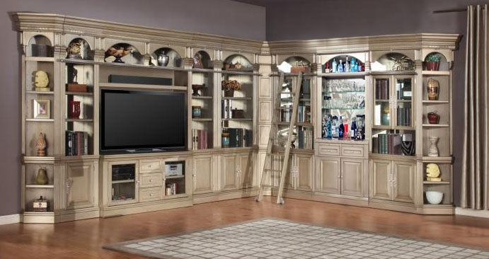 Allure 3 Piece 60 Inch TV Console Bookcase Entertainment Library Wall In  Champagne Finish By Parker House   ALL#412 3O
