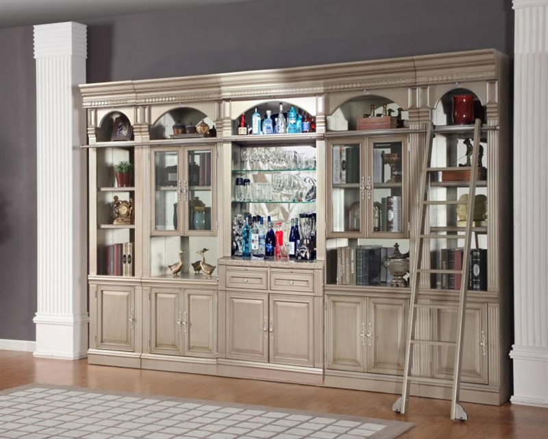 Allure 6 Piece Bar Unit Library Wall In Champagne Finish By Parker House All 465 2 6s