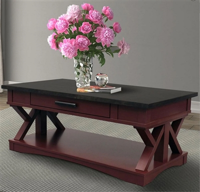 Americana Cocktail Table in Cranberry Finish by Parker House - AME#01-CRAN