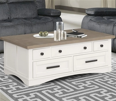 Americana Lift Top Cocktail Table in Cotton Finish by Parker House - AME#05-COT