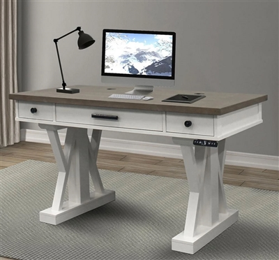 Americana Modern 56 Inch Power Lift Desk in Cotton Finish by Parker House - AME#256-2-COT