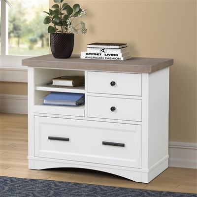 Americana Functional File Cabinet with Power Center in Cotton Finish by Parker House - AME#342F-COT