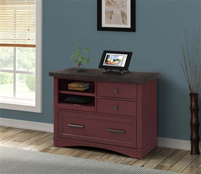 Americana Functional File Cabinet with Power Center in Cranberry Finish by Parker House - AME#342F-CRAN
