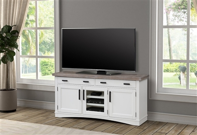 Americana Modern 63 Inch TV Console with Power Center in Cotton White Finish by Parker House - AME#63-COT