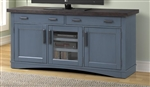 Americana Modern 63 Inch TV Console with Power Center in Denim Finish by Parker House - AME#63-DEN