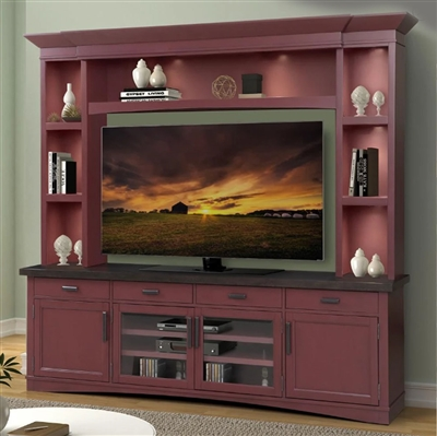 Americana Entertainment Center with LED Lights in Cranberry Finish by Parker House - AME#92-3-CRAN
