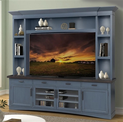 Americana Entertainment Center with LED Lights in Denim Finish by Parker House - AME#92-3-DEN