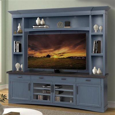 Americana 4 Piece Entertainment Center with LED Lights and Backpanel in Denim Finish by Parker House - AME#92-4-DEN