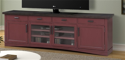 Americana Modern 92 Inch TV Console with Power Center in Cranberry Finish by Parker House - AME#92-CRAN