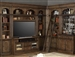 Aria 60 Inch TV Console 8 Piece Entertainment Bar Bookcase Library Wall in Antique Vintage Smoked Pecan Finish by Parker House - ARI-412-08