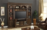 Aria 60 Inch TV Console 4 Piece Entertainment Wall in Antique Vintage Smoked Pecan Finish by Parker House - ARI-412-4
