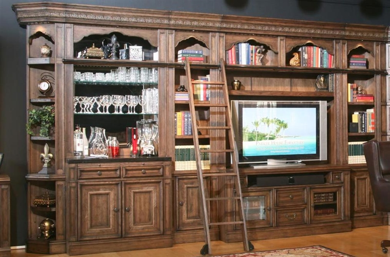 Aria 60 Inch Tv Console 8 Piece Bar Entertainment Wall In Antique Vintage Smoked Pecan Finish
