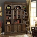Aria 3 Piece Library Wall in Antique Vintage Smoked Pecan Finish by Parker House - ARI-420-3