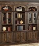 Aria 3 Piece Library Wall in Antique Vintage Smoked Pecan Finish by Parker House - ARI-430-3G