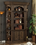 Aria 3 Piece Bookcase Display Cabinet in Antique Vintage Smoked Pecan Finish by Parker House - ARI-450-03