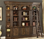 Aria 5 Piece Library Wall in Antique Vintage Smoked Pecan Finish by Parker House - ARI-450-05