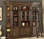 Aria 5 Piece Library Wall in Antique Vintage Smoked Pecan Finish by Parker House - ARI-450-5