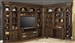 Aria 60 Inch TV Console 10 Piece Entertainment Desk Bookcase Library Wall in Antique Vintage Smoked Pecan Finish by Parker House - ARI-460-10