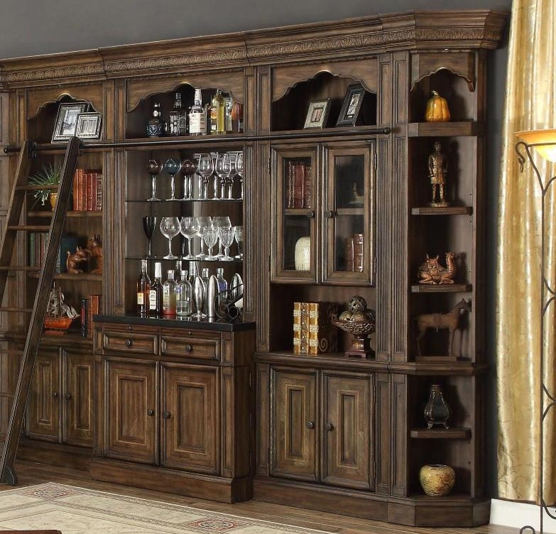 Aria 6 Piece Bar Unit Bookcase Library Wall In Antique Vintage Smoked Pecan Finish By Parker House