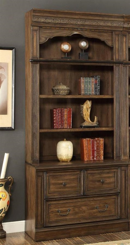 Aria 2 Piece Lateral File And Hutch In Antique Vintage Smoked Pecan Finish  By Parker House ...