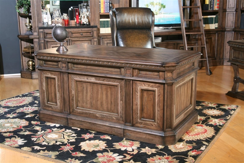 Aria Double Pedestal Executive Desk in Antique Vintage Smoked Pecan Finish  by Parker House - ARI-480-3 - Aria Double Pedestal Executive Desk In Antique Vintage Smoked Pecan