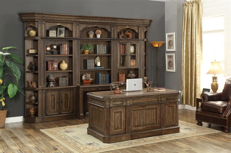 Aria Double Pedestal Executive Desk in Antique Vintage Smoked Pecan Finish  by Parker House - ARI-480-3 - Aria Double Pedestal Executive Desk In Antique Vintage Smoked