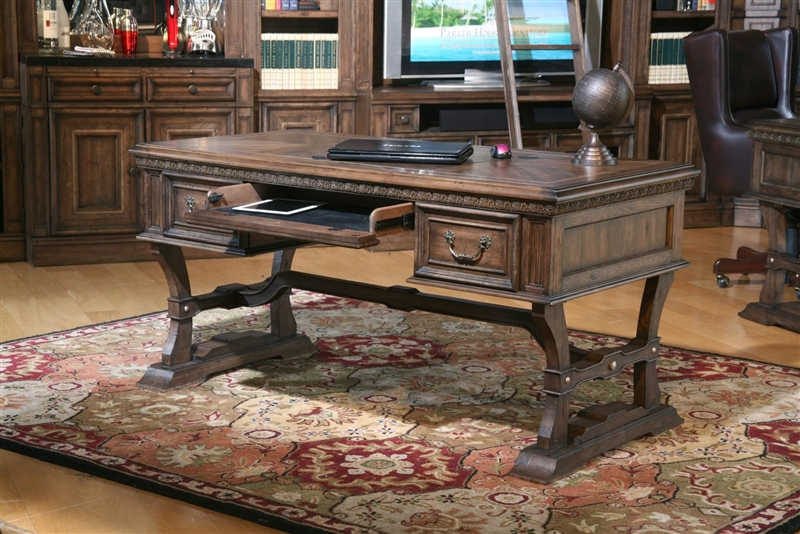 aria writing desk in antique vintage smoked pecan finishparker