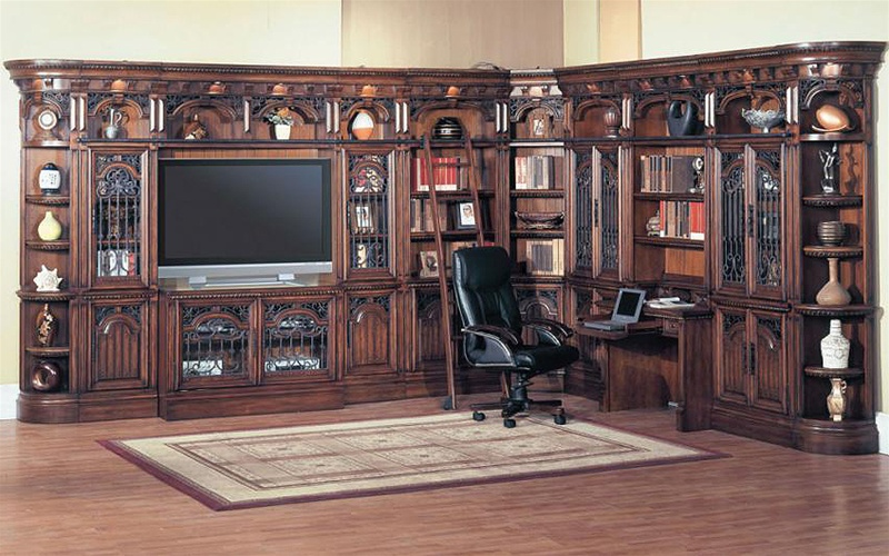 Barcelona 11 Piece Library Wall With Writing Desk And 50