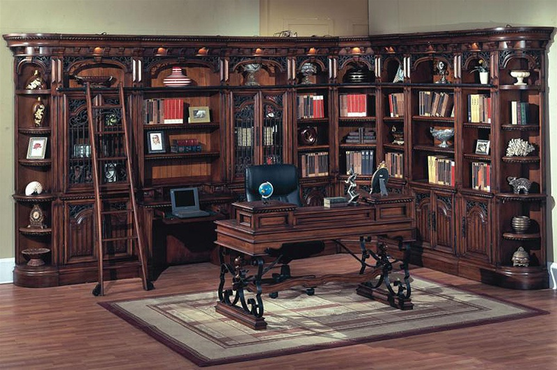 Barcelona 11 Piece Library Wall With Desk In Dark Red